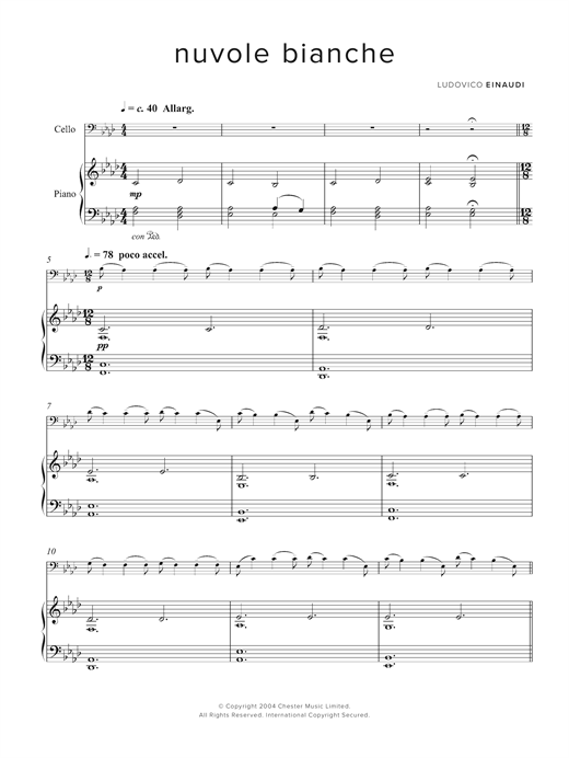 Ludovico Einaudi Nuvole Bianche sheet music notes and chords