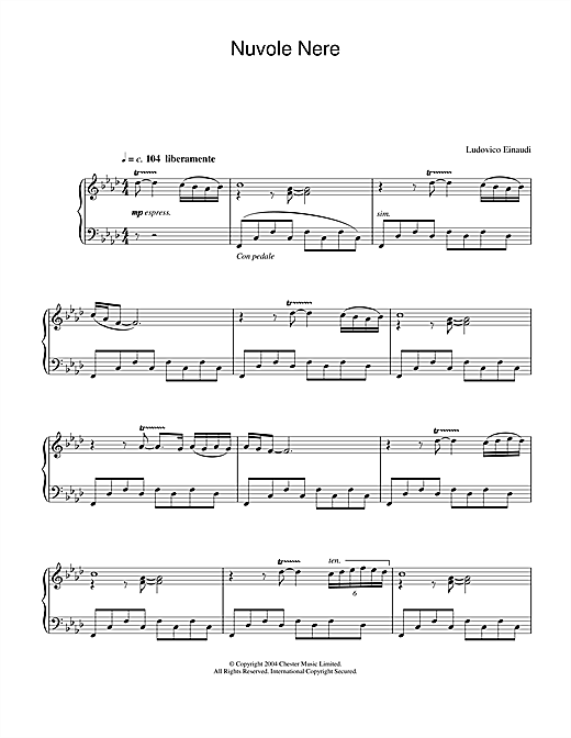 Ludovico Einaudi Nuvole Nere sheet music notes and chords. Download Printable PDF.