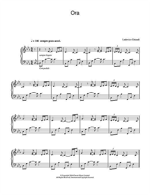 Ludovico Einaudi Ora sheet music notes and chords