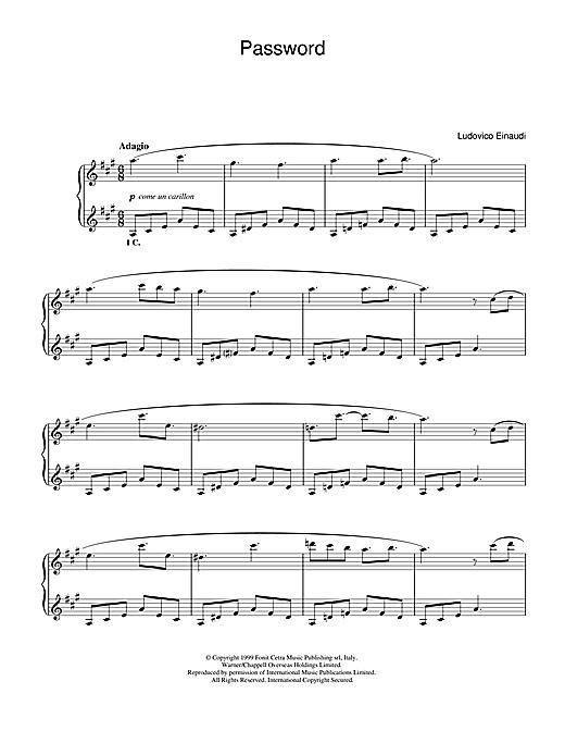 Ludovico Einaudi Password sheet music notes and chords. Download Printable PDF.