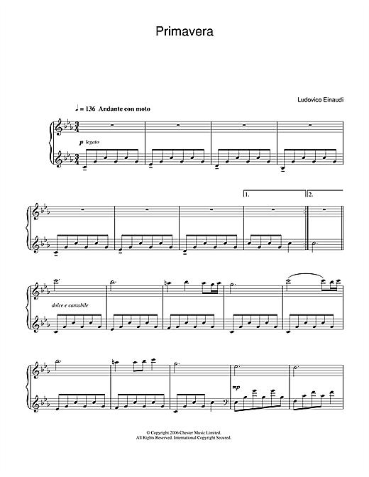 Ludovico Einaudi Primavera sheet music notes and chords. Download Printable PDF.