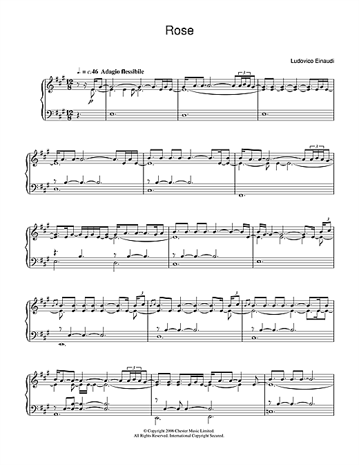 Ludovico Einaudi Rose sheet music notes and chords. Download Printable PDF.