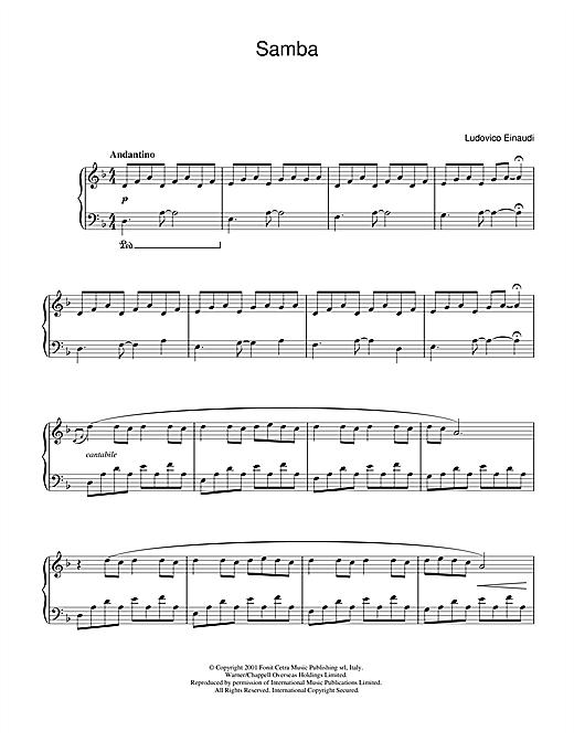 Ludovico Einaudi Samba sheet music notes and chords. Download Printable PDF.