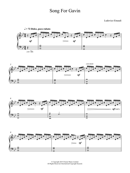 Ludovico Einaudi Song For Gavin sheet music notes and chords. Download Printable PDF.