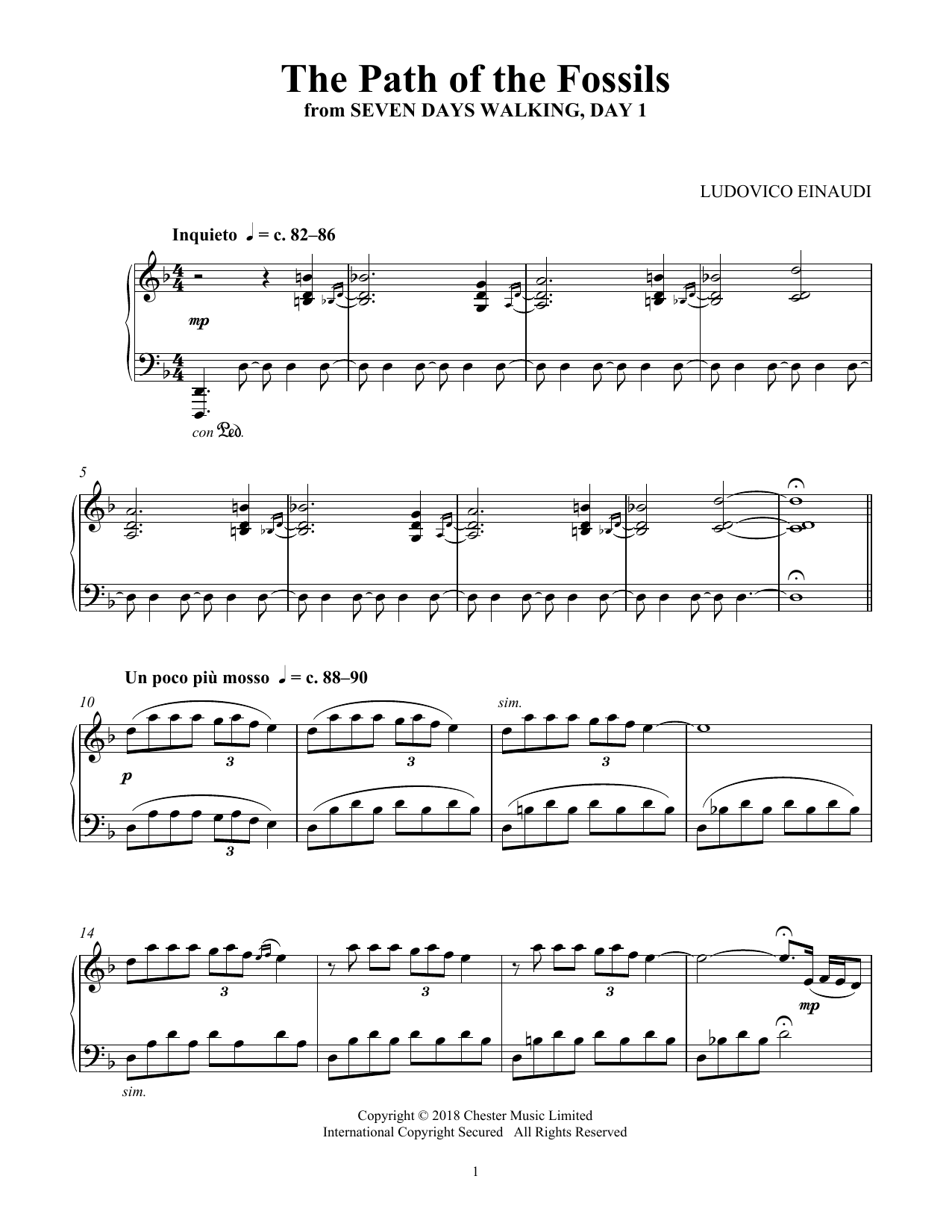 Ludovico Einaudi The Path Of The Fossils (from Seven Days Walking: Day 1) sheet music notes and chords