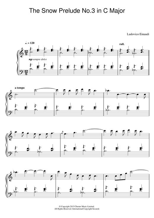 Ludovico Einaudi The Snow Prelude No. 3 In C Major sheet music notes and chords
