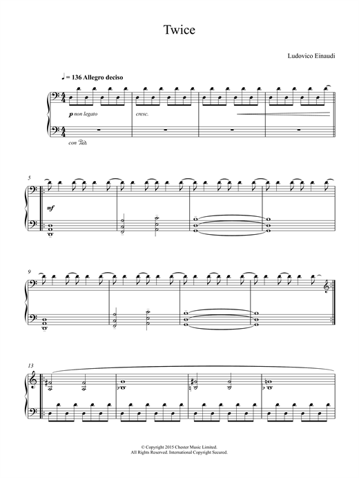 Ludovico Einaudi Twice sheet music notes and chords. Download Printable PDF.