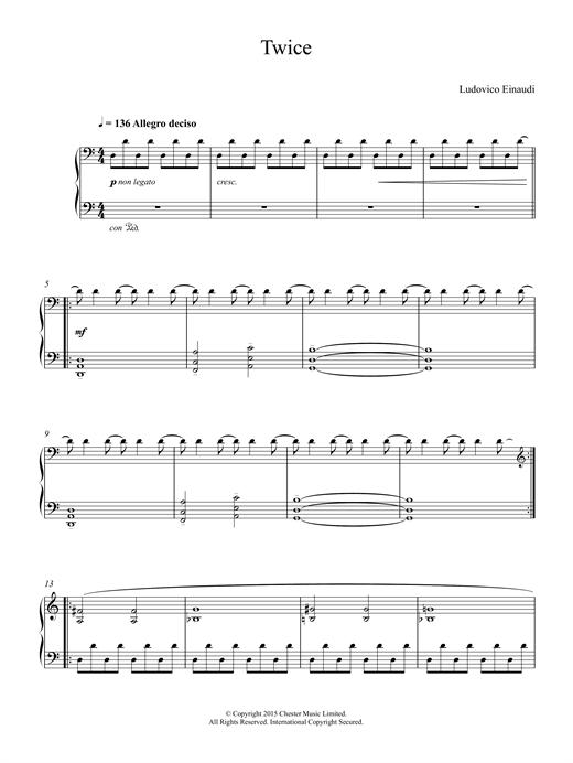 Ludovico Einaudi Twice sheet music notes and chords