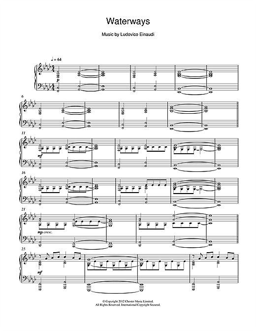 Ludovico Einaudi Waterways sheet music notes and chords
