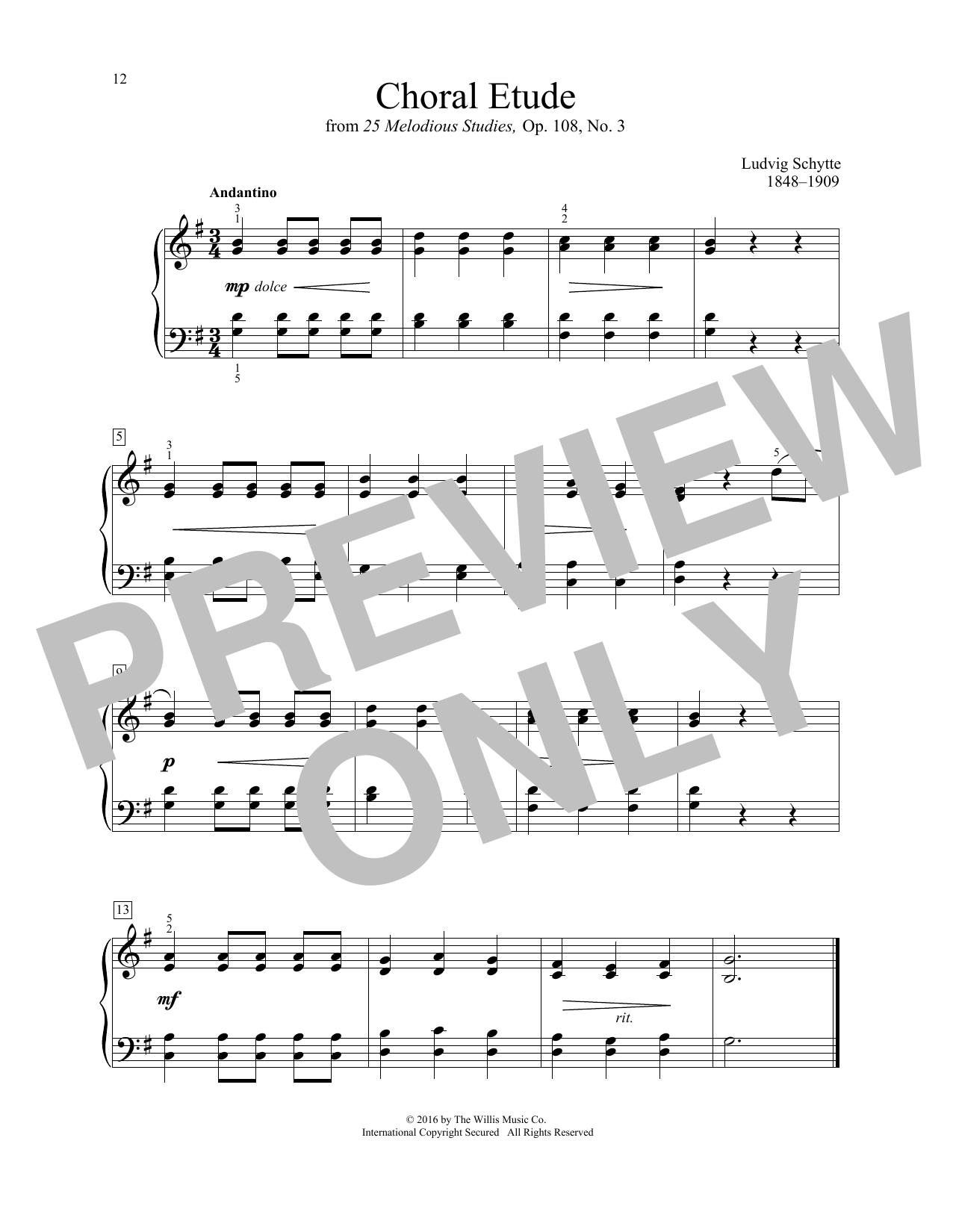 Ludvig Schytte Choral Etude sheet music notes and chords. Download Printable PDF.