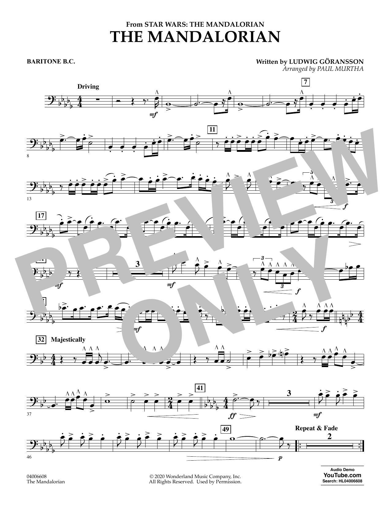 Ludwig Goransson The Mandalorian (from Star Wars: The Mandalorian) (arr. Paul Murtha) - Baritone B.C. sheet music notes and chords. Download Printable PDF.