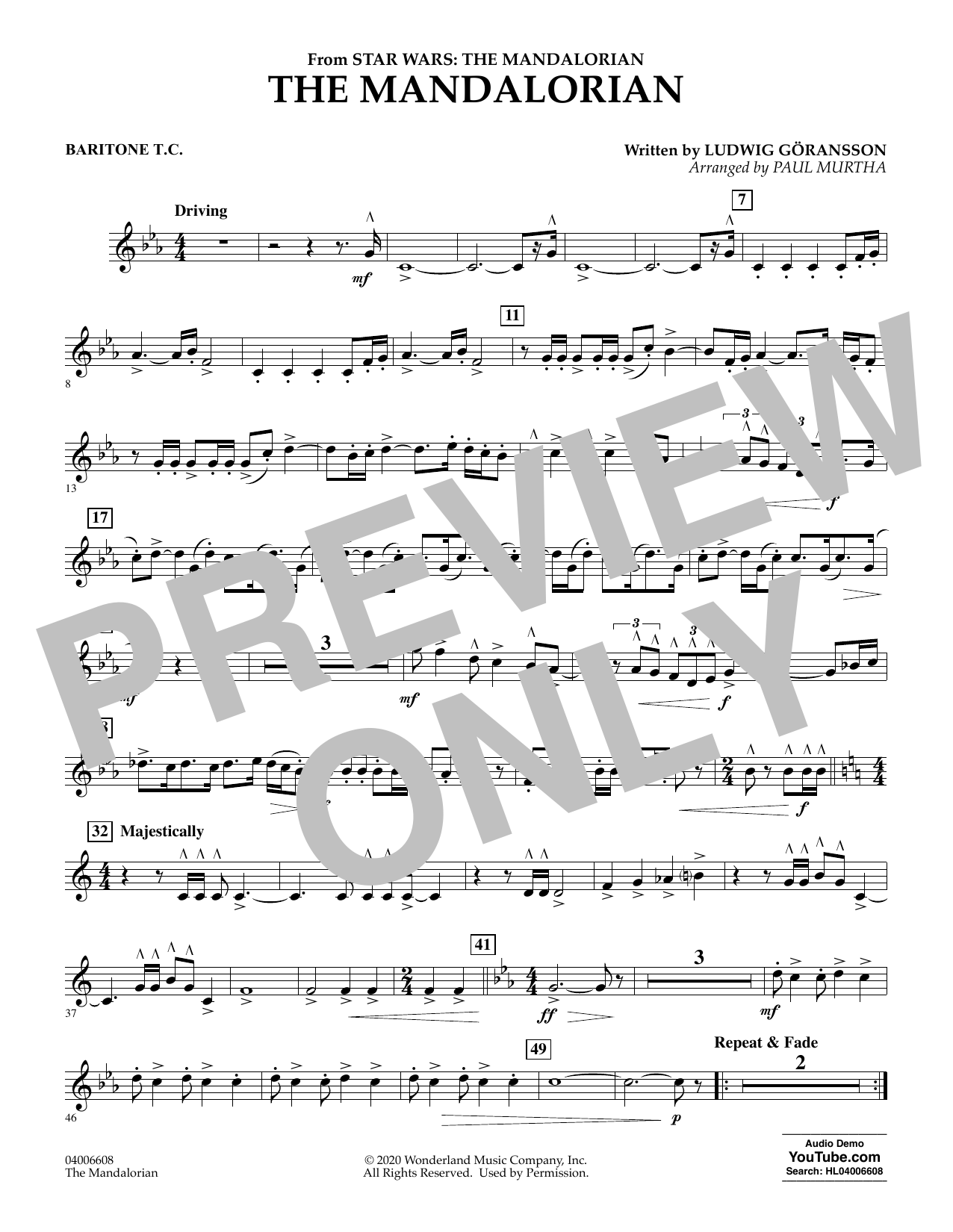 Ludwig Goransson The Mandalorian (from Star Wars: The Mandalorian) (arr. Paul Murtha) - Baritone T.C. sheet music notes and chords. Download Printable PDF.