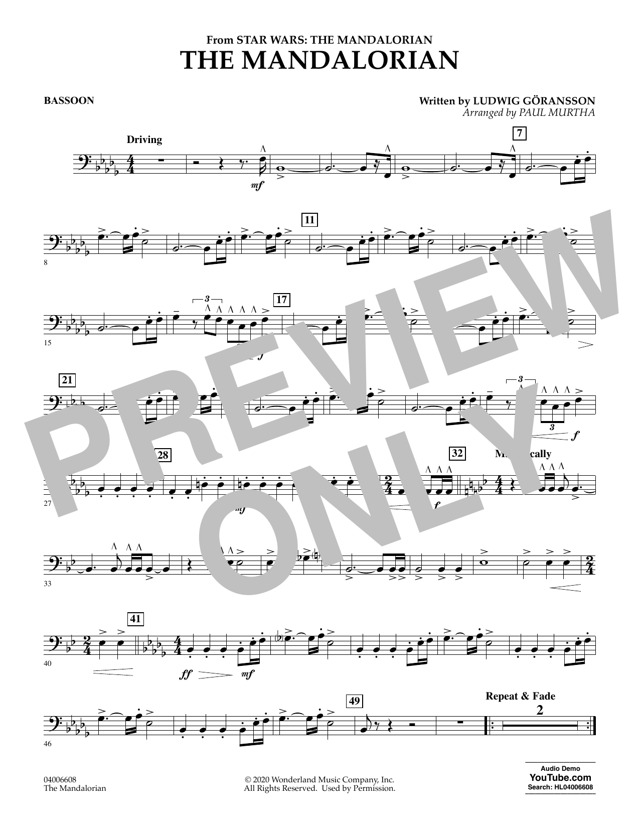 Ludwig Goransson The Mandalorian (from Star Wars: The Mandalorian) (arr. Paul Murtha) - Bassoon sheet music notes and chords. Download Printable PDF.