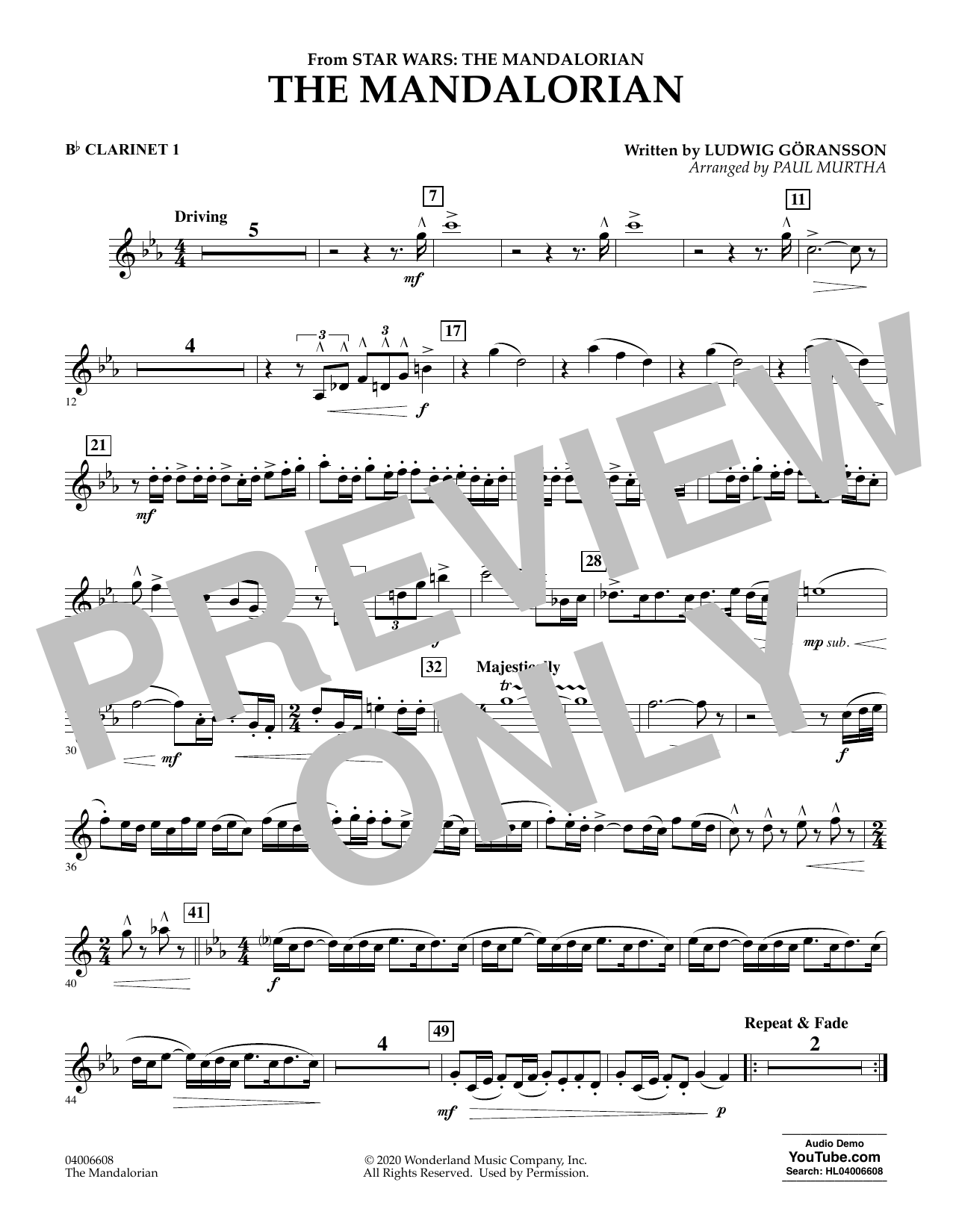 Ludwig Goransson The Mandalorian (from Star Wars: The Mandalorian) (arr. Paul Murtha) - Bb Clarinet 1 sheet music notes and chords. Download Printable PDF.