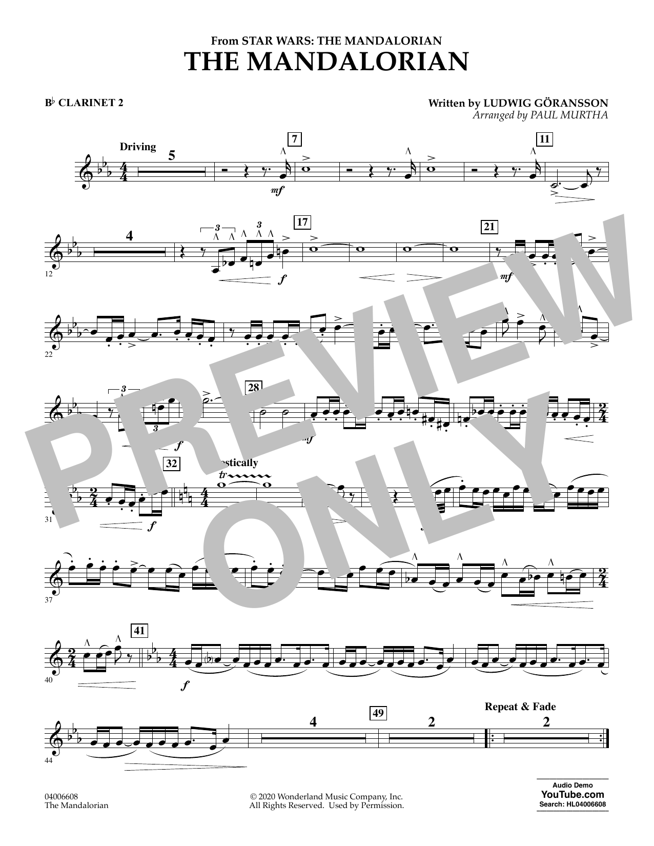 Ludwig Goransson The Mandalorian (from Star Wars: The Mandalorian) (arr. Paul Murtha) - Bb Clarinet 2 sheet music notes and chords. Download Printable PDF.