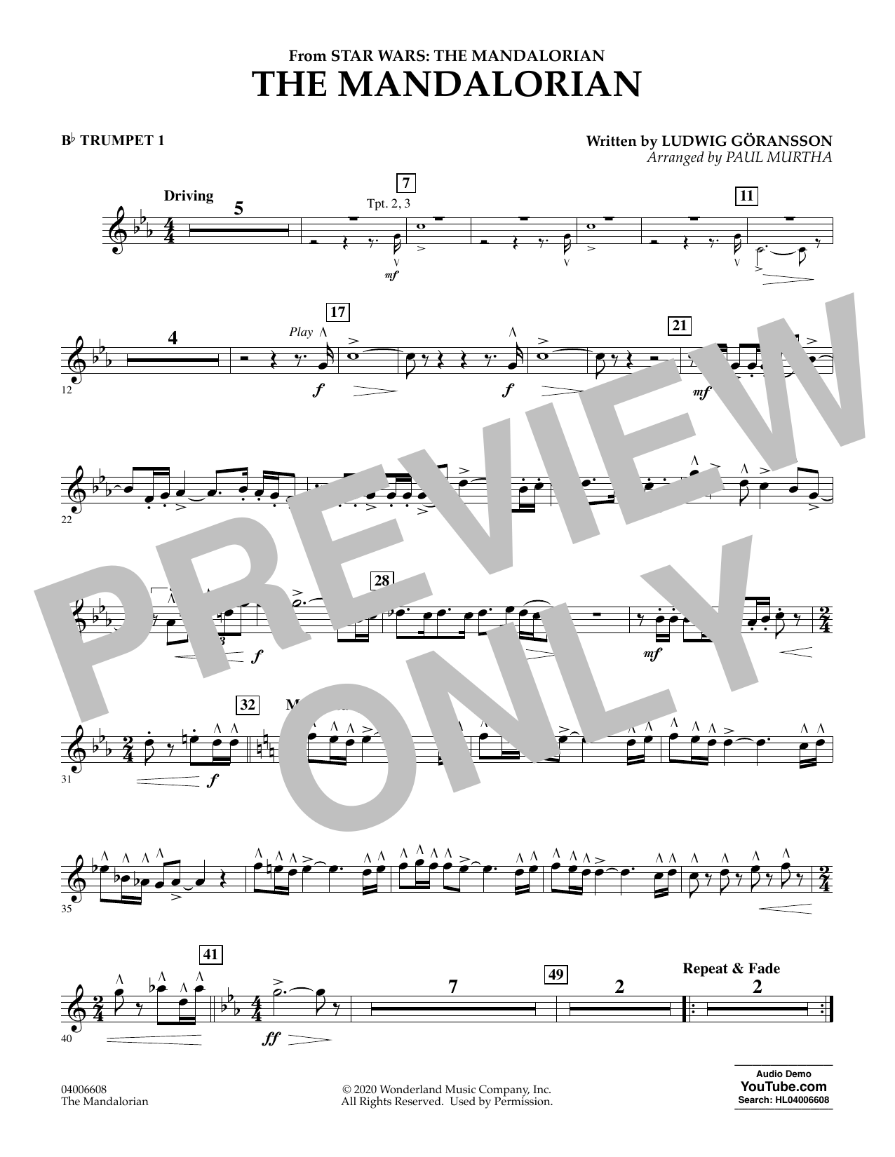 Ludwig Goransson The Mandalorian (from Star Wars: The Mandalorian) (arr. Paul Murtha) - Bb Trumpet 1 sheet music notes and chords. Download Printable PDF.