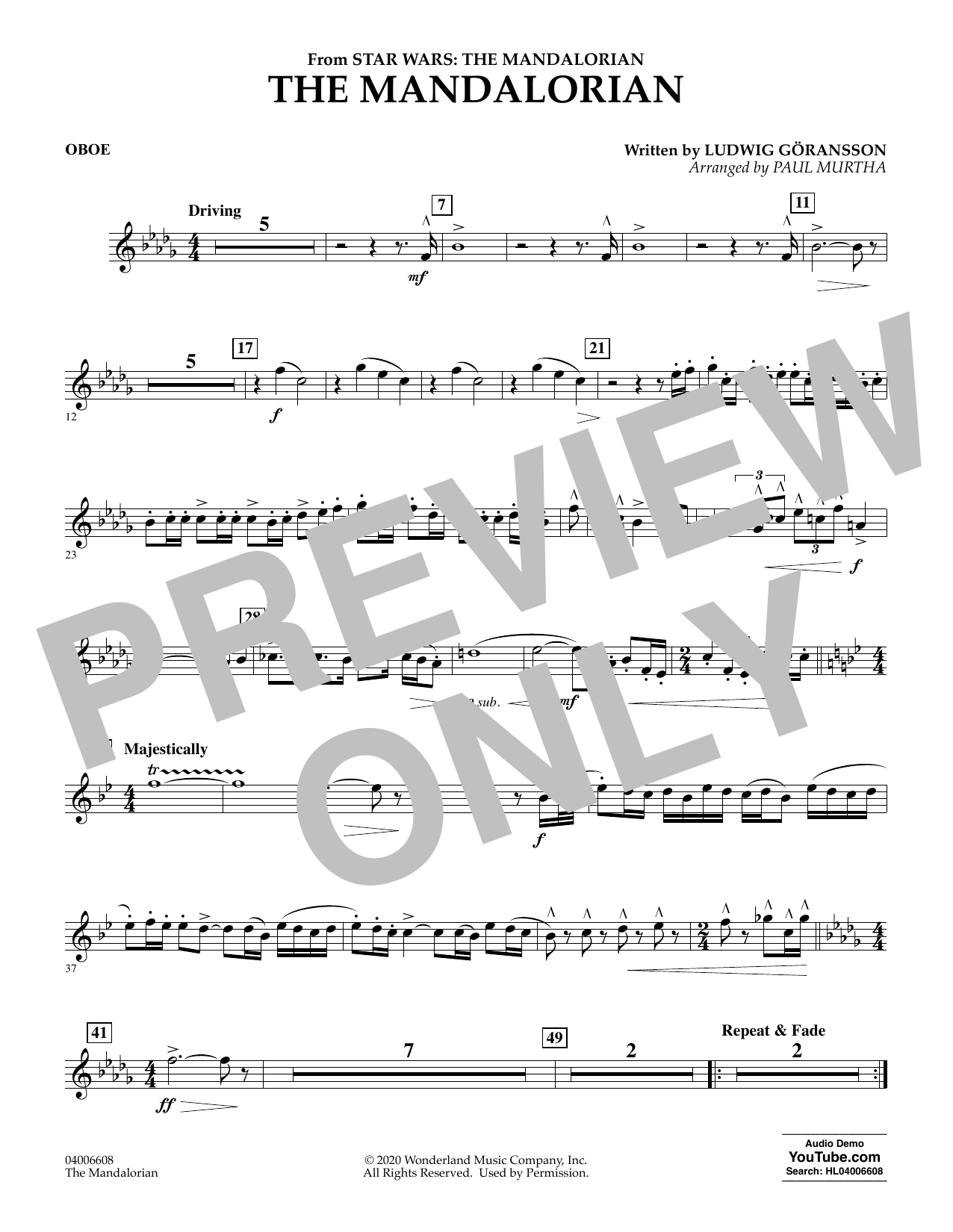 Ludwig Goransson The Mandalorian (from Star Wars: The Mandalorian) (arr. Paul Murtha) - Oboe sheet music notes and chords. Download Printable PDF.
