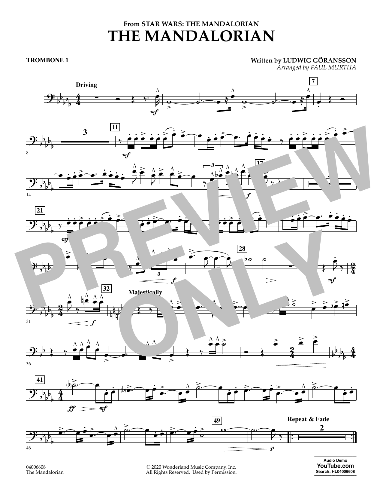 Ludwig Goransson The Mandalorian (from Star Wars: The Mandalorian) (arr. Paul Murtha) - Trombone 1 sheet music notes and chords. Download Printable PDF.