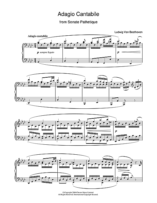 Ludwig van Beethoven Adagio Cantabile from Sonate Pathetique Op.13, Theme from the 2nd Movement sheet music notes and chords. Download Printable PDF.