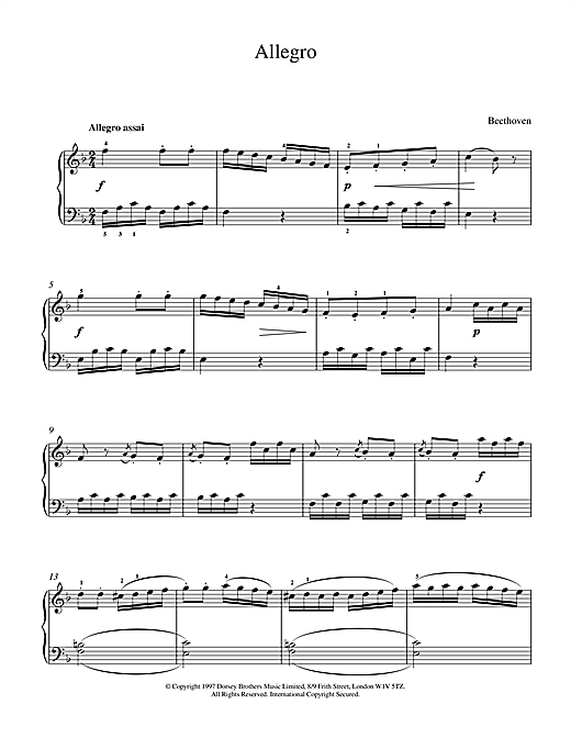 Ludwig van Beethoven Allegro In F sheet music notes and chords