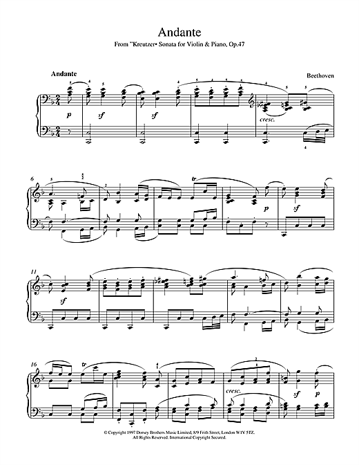 Ludwig van Beethoven Andante from Violin Sonata No. 9 (Kreutzer) sheet music notes and chords