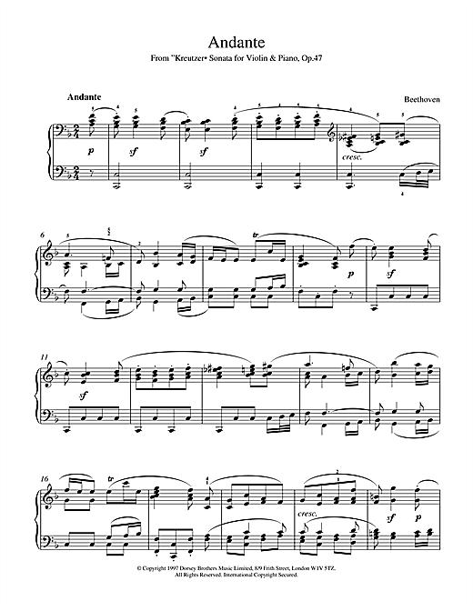 Ludwig van Beethoven Andante from Violin Sonata No. 9 (Kreutzer) sheet music notes and chords. Download Printable PDF.