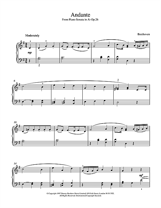 Ludwig van Beethoven Andante Sonata Op.26 sheet music notes and chords. Download Printable PDF.