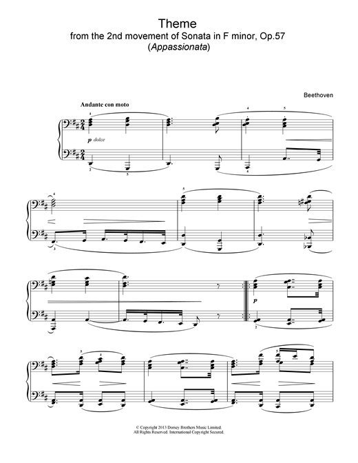 Ludwig van Beethoven Appassionata Theme sheet music notes and chords