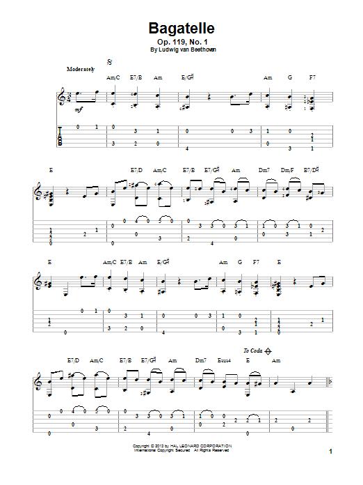 Ludwig van Beethoven Bagatelle, Op. 119, No. 1 sheet music notes and chords. Download Printable PDF.