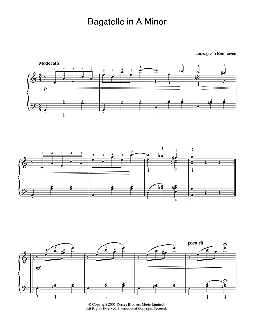 Ludwig van Beethoven Bagatelle In A Minor sheet music notes and chords. Download Printable PDF.
