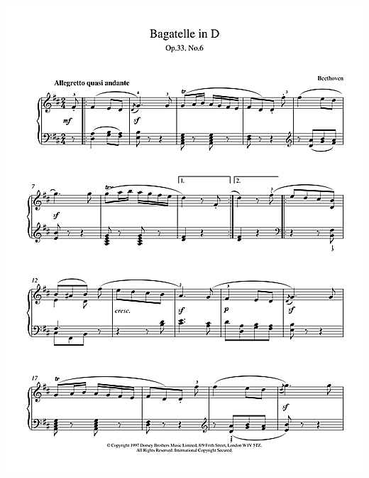 Ludwig van Beethoven Bagatelle In D Major, Op.33 No.6 sheet music notes and chords