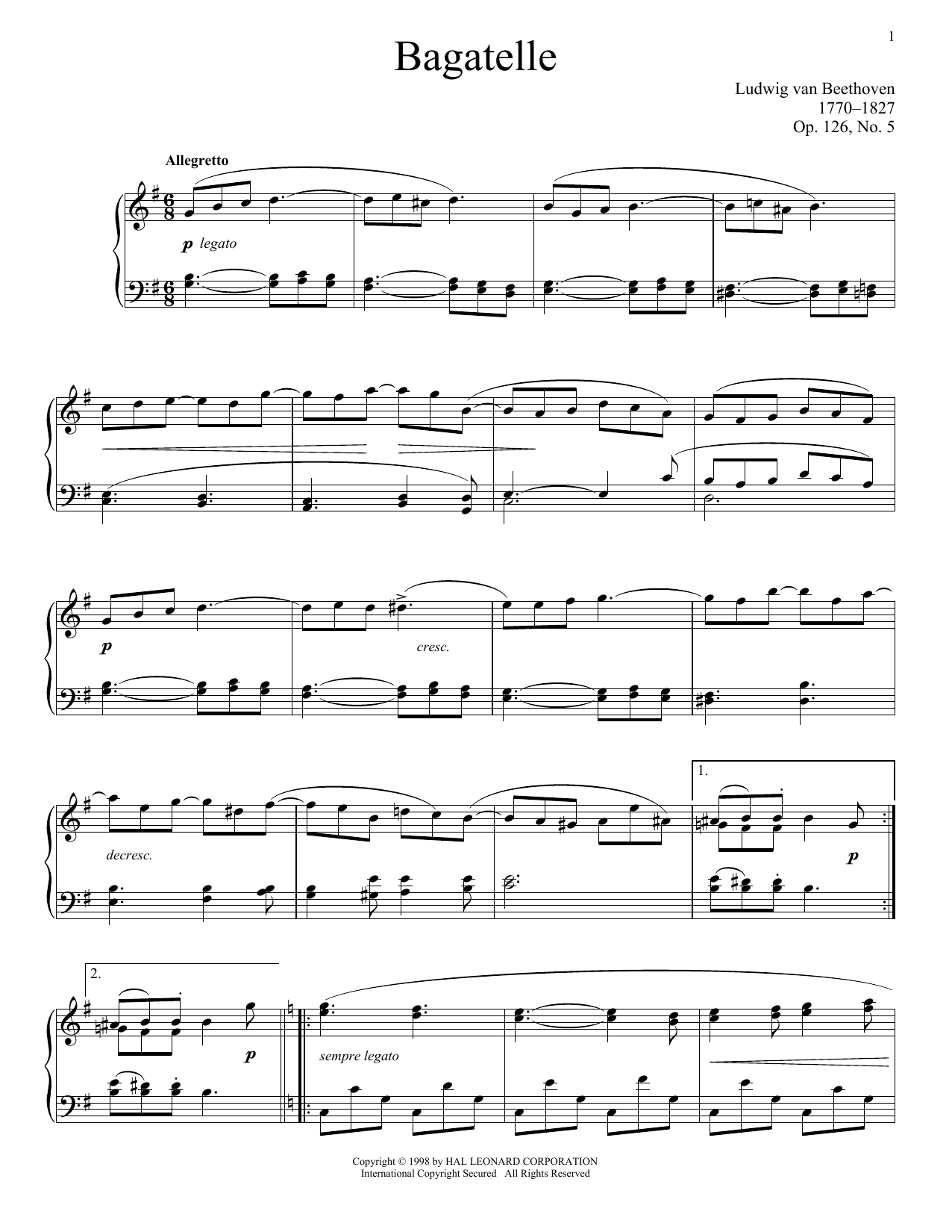 Ludwig van Beethoven Bagatelle in G, Op. 126, No. 5 sheet music notes and chords. Download Printable PDF.