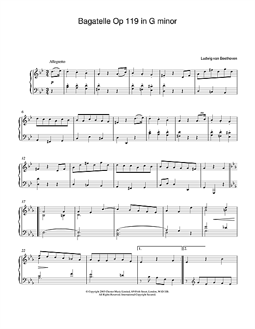 Ludwig van Beethoven Bagatelle In G Minor, Op. 119 No. 1 sheet music notes and chords. Download Printable PDF.