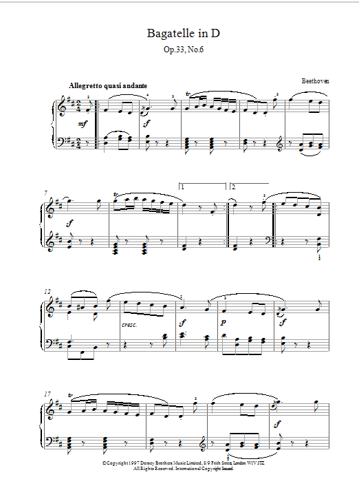 Ludwig van Beethoven Bagatelle In D Major, Op.33 No.6 sheet music notes and chords. Download Printable PDF.