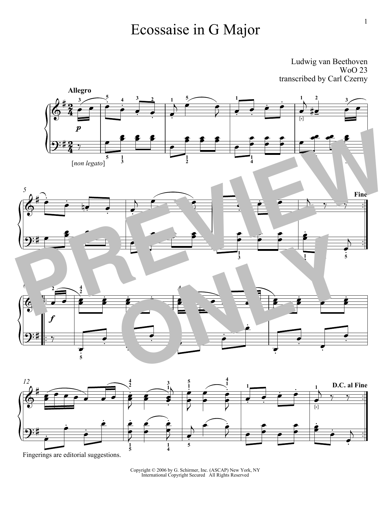 Ludwig van Beethoven Ecossaise In G Major, WoO 23 sheet music notes and chords. Download Printable PDF.