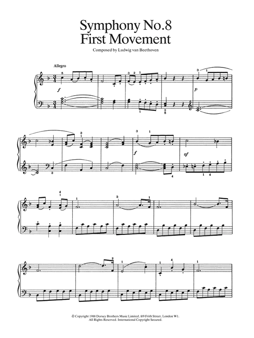 Ludwig van Beethoven First Movement (from Symphony No. 8 In F Major, Op. 93) sheet music notes and chords. Download Printable PDF.