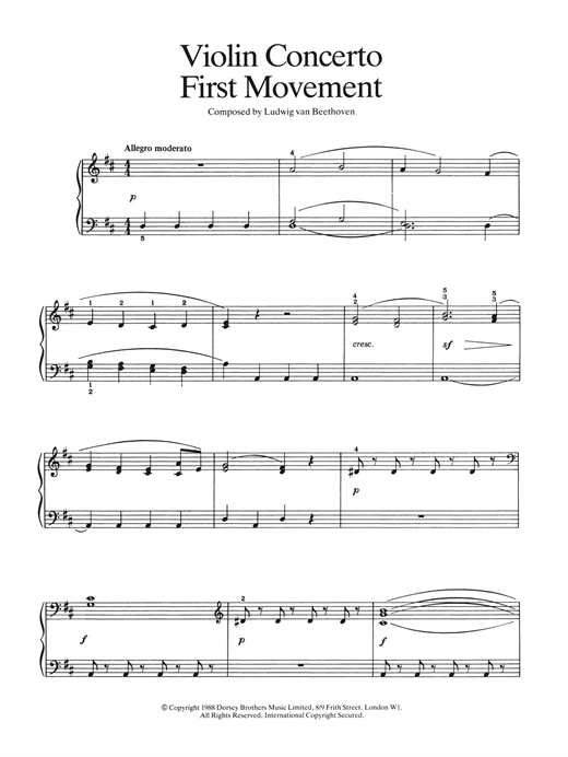 Ludwig van Beethoven First Movement (from Violin Concerto In D Major, Op. 61) sheet music notes and chords