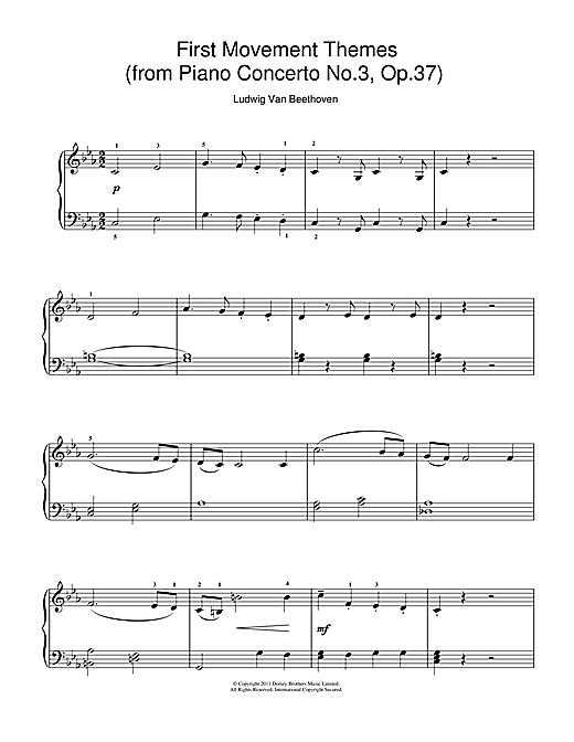 Ludwig van Beethoven First Movement Themes (from Piano Concerto No.3, Op.37) sheet music notes and chords