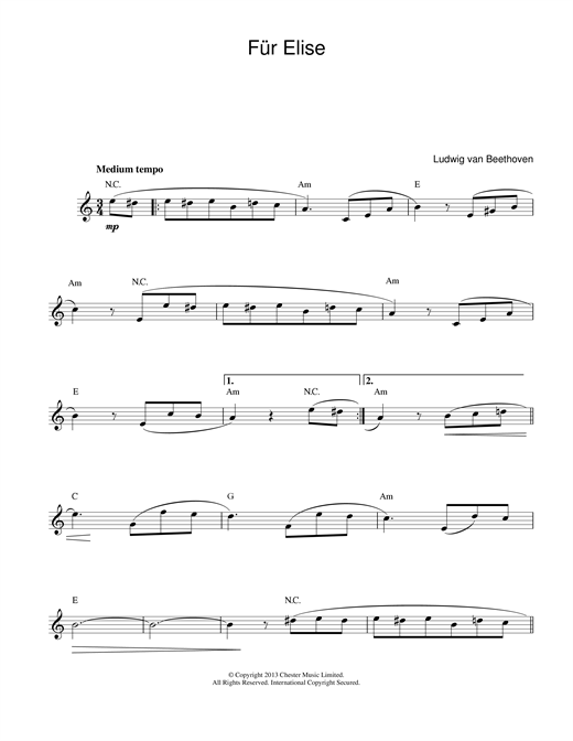 Ludwig van Beethoven Fur Elise sheet music notes and chords. Download Printable PDF.