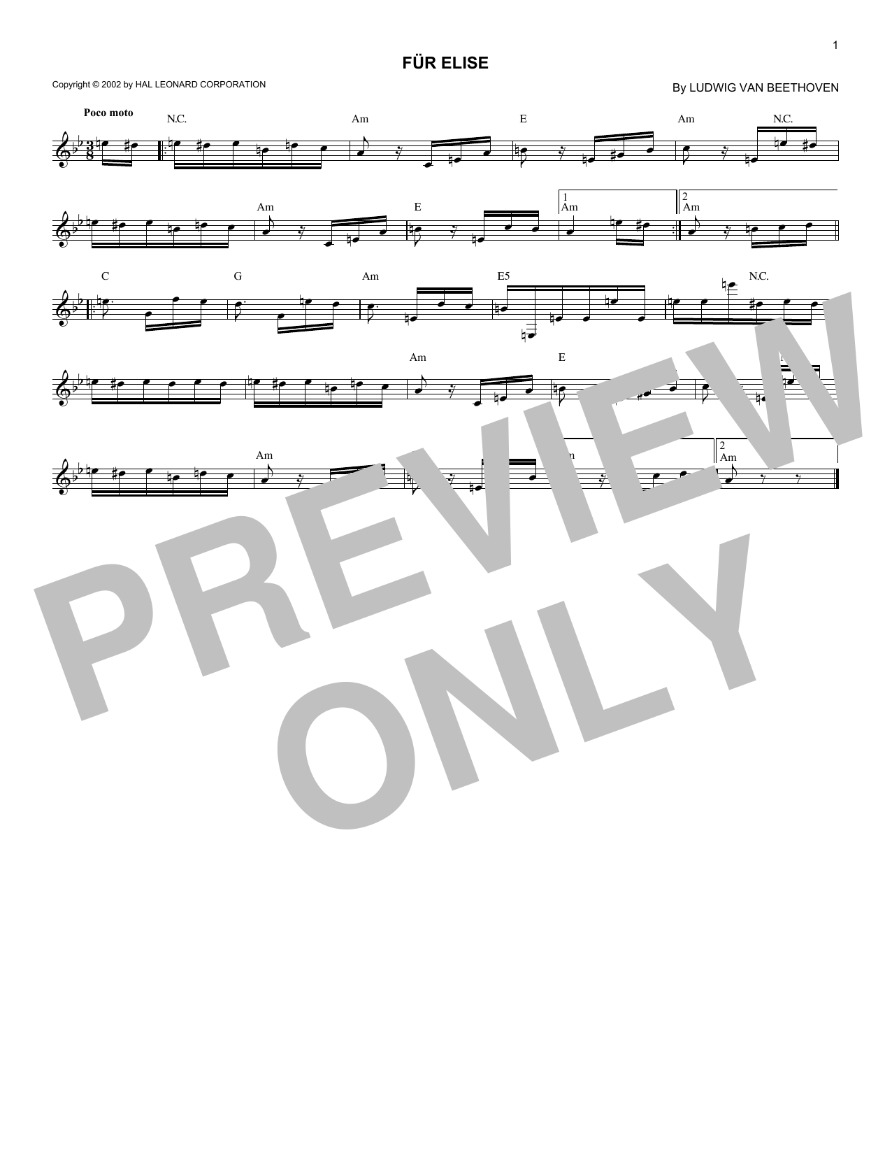 Ludwig van Beethoven Fur Elise sheet music notes and chords. Download Printable PDF.