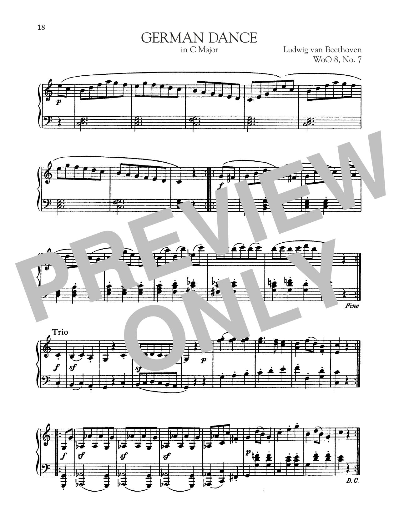 Ludwig van Beethoven German Dance In C Major, WoO 8, No. 1 sheet music notes and chords. Download Printable PDF.