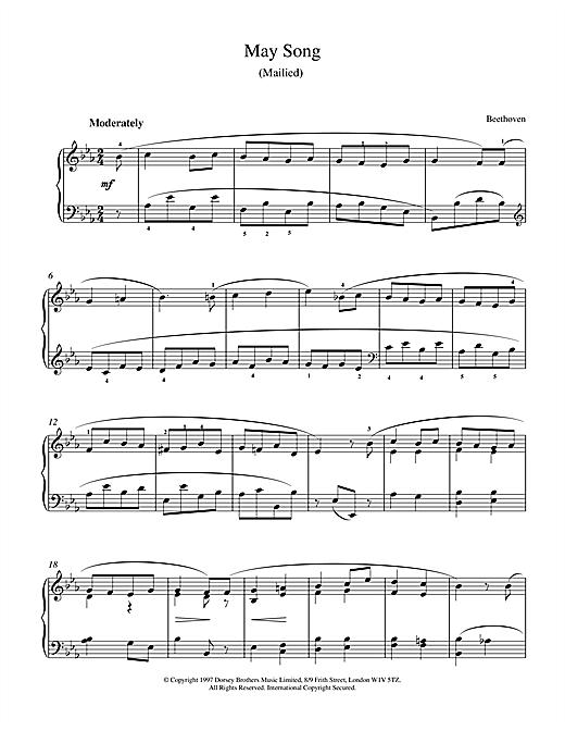 Ludwig van Beethoven May Song Op.52, No.4 sheet music notes and chords