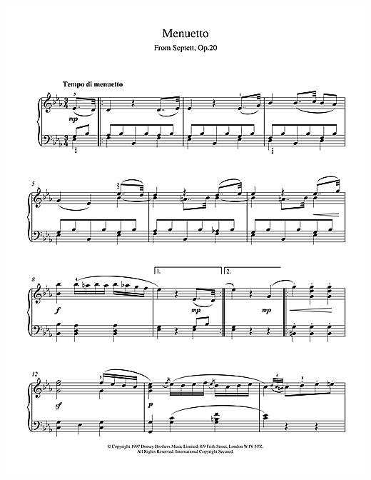 Ludwig van Beethoven Menuett From Septet Op.20 sheet music notes and chords