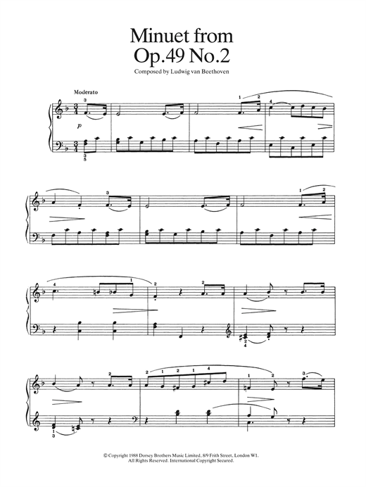 Ludwig van Beethoven Minuet from Op. 49, No.2 sheet music notes and chords. Download Printable PDF.