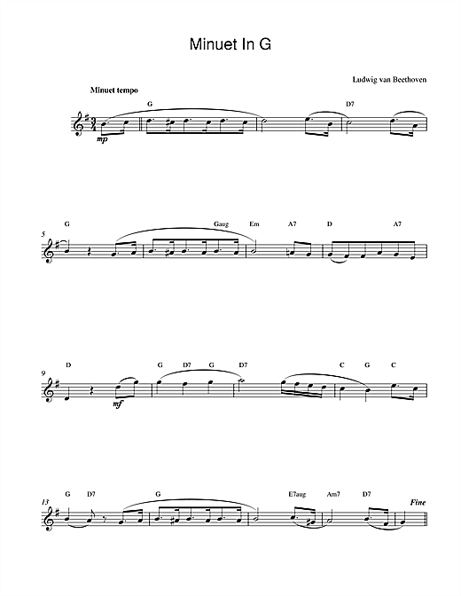 Ludwig van Beethoven Minuet In G sheet music notes and chords