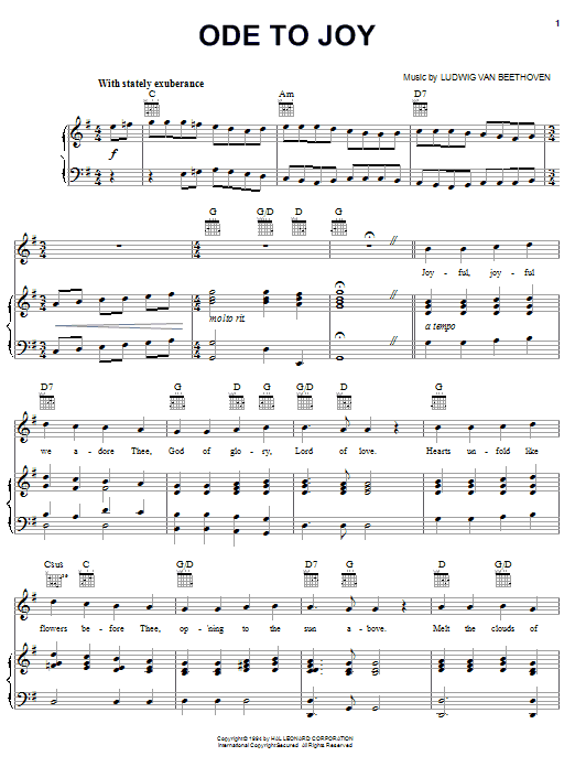 Ludwig van Beethoven Ode To Joy sheet music notes and chords. Download Printable PDF.