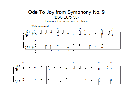 Ludwig van Beethoven Ode To Joy from Symphony No. 9, Fourth Movement sheet music notes and chords. Download Printable PDF.