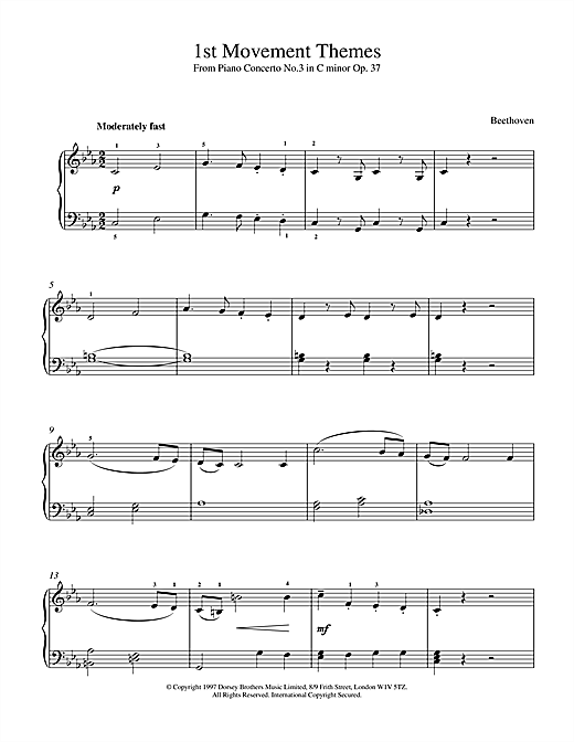 Ludwig van Beethoven Piano Concerto No.3 Op.37, 1st Movement Themes sheet music notes and chords