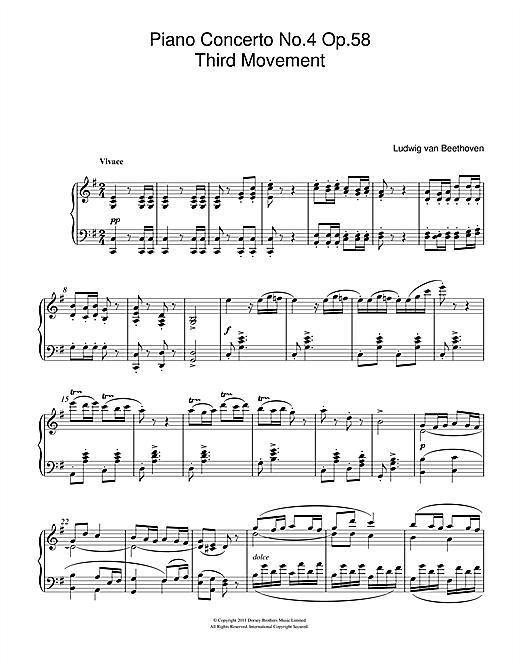 Ludwig van Beethoven Piano Concerto No.4 Op.58 (Third Movement) sheet music notes and chords. Download Printable PDF.
