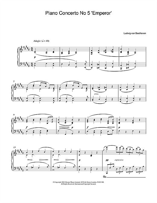 Ludwig van Beethoven Piano Concerto No.5 (Emperor), E Flat Major, Op.73, Theme from the 2nd Movement sheet music notes and chords